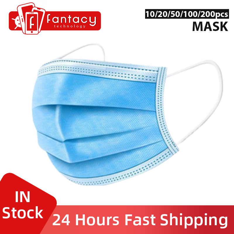 In Stock Protective Face Mask Virus 10/20/50/100/200pcs Disposable Anti Earloop Non-Woven Anti-Pollution 3 Disposable Laye Mask