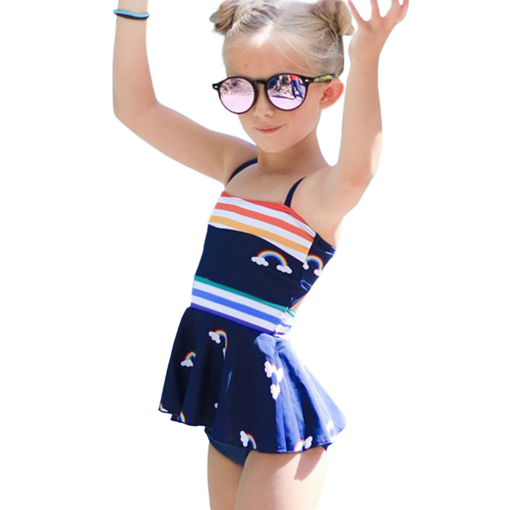 2020 New Style Europe And America Children Camisole Split Type Swimwear Flounced Skirt-Style Bathing Suit Triangular Bathing Sui