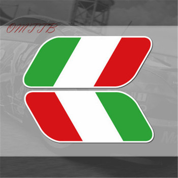 2pcs Italian Italy Flag Stickers Fender Badge Emblems Decal Decor car styling For bmw benz Ferrari Fiat Volkswagen skoda image