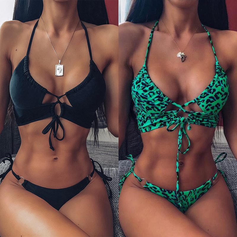 2020 Sexy Leopard Bikini Set High Waist Swimwear Women Hollow Out Swimsuit Female Brazilian Bikini Bathers Triangle Bathing Suit