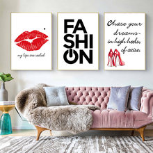 Quotes Vogue Poster Print Red Lips High Heels Canvas Painting Wall Art Nordic Pictures For Fashion Girl Bedroom Decoration