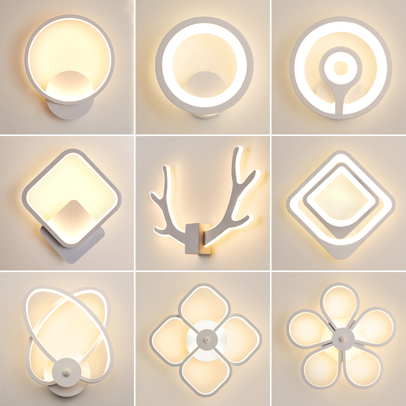 LED Wall Lamp Modern Living Room Bedroom Bedside White LED Sconce Creative Circle Antlers Plum Blossom Aisle Corridor Wall Light 1