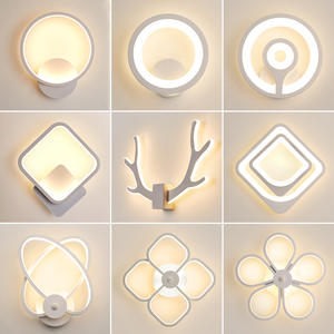 Wall-Lamp Led-Sconce Antlers Circle Bedroom Corridor Bedside White Living-Room Creative