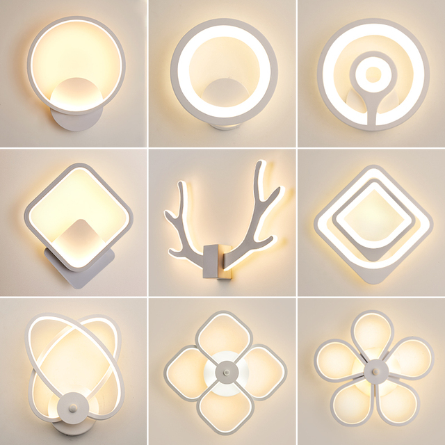 LED Wall Lamp Modern Living Room Bedroom Bedside White LED Sconce Creative Circle Antlers Plum Blossom Aisle Corridor Wall Light 1