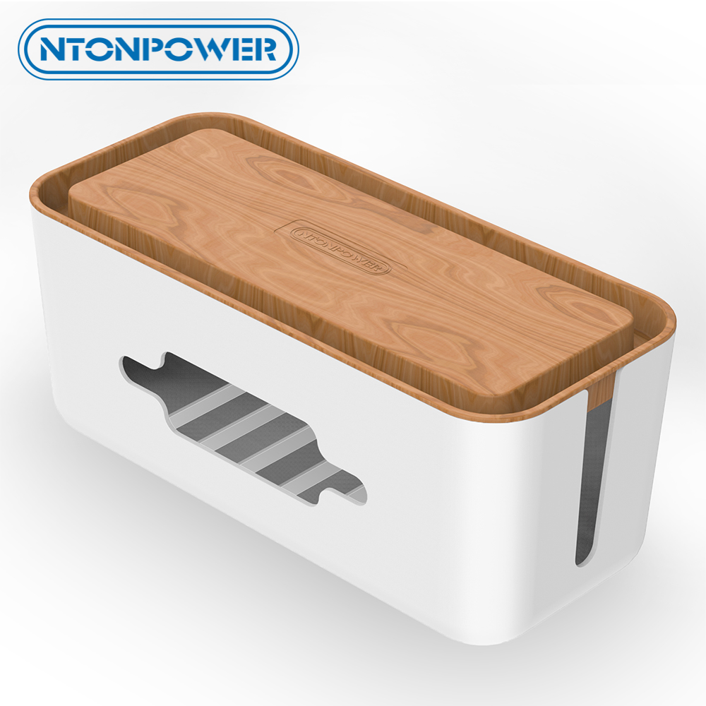 NTONPOWER Cable Organizer Box Hard Plastic Desk Cable Management Box with Holder wood Color Cover for Home Cable Winder Storage