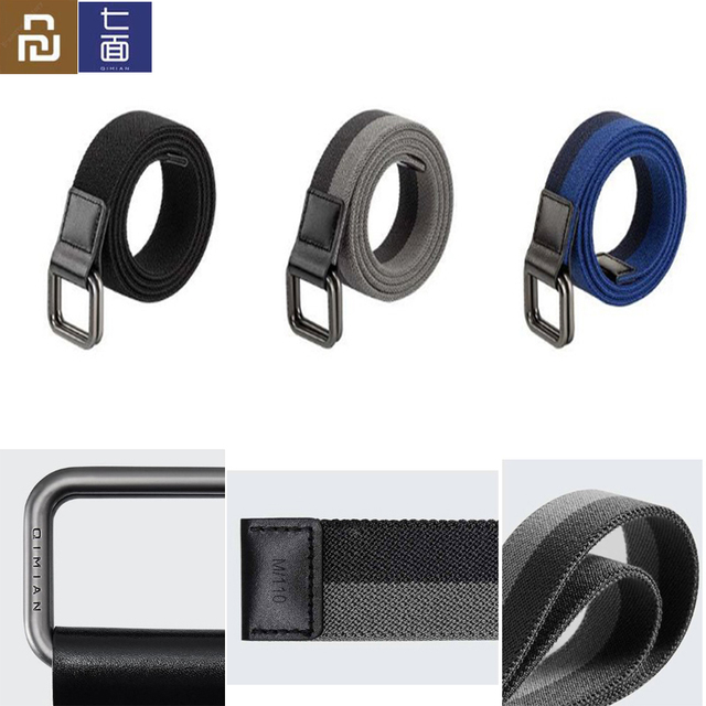 Youpin Qimian Fashion Elastic Fabric Sports Tactical Belt Double Ring Alloy Buckle Leather Rinforcement Comfortable Mens Belt
