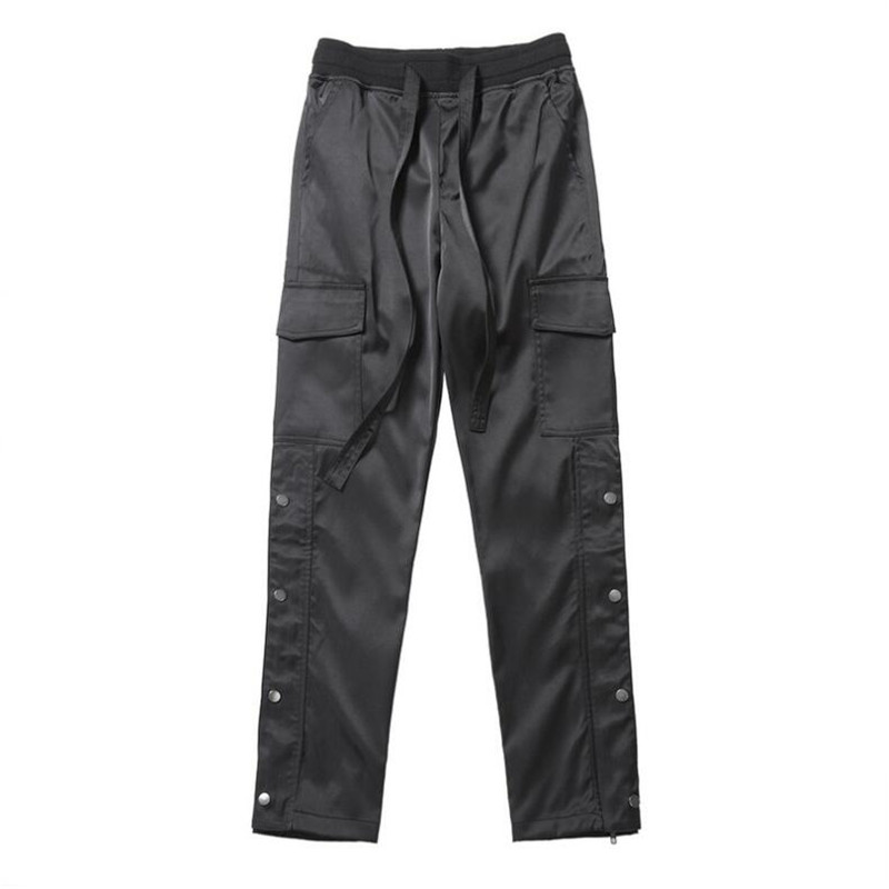 NAGRI Nylon Snap Cargo Pants Men's Black Streetwear Hip Hop Biker SweatPants With Straps Buttons Velcro Strap Closure Trousers