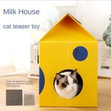 Nova caixa de leite criativo gato lixa resistente a riscos gato placa casa villa ninho quatro estações universal gato animal estimação ninho