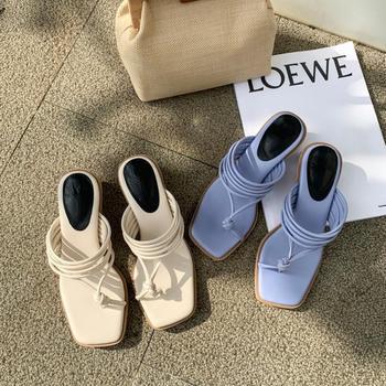 Slipper Womens Semi-High Heeled 2020 Summer Split Toe Narrow Combination Chunky Heel Flip-flops French Sandals Fashion