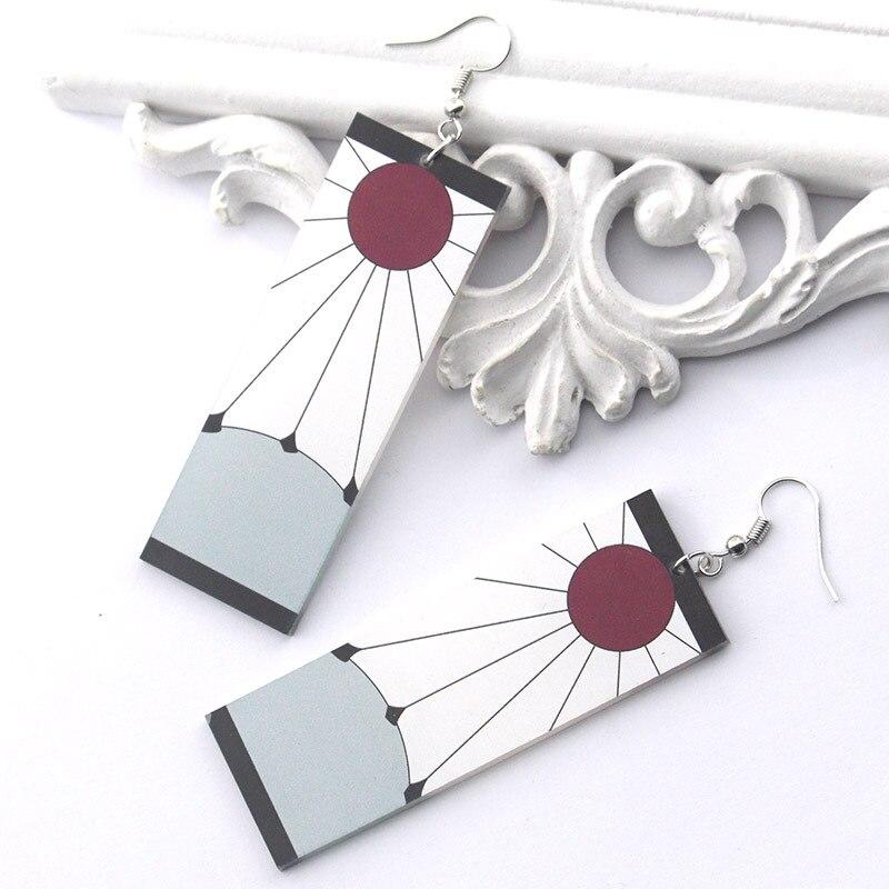 Аниме клинок призрака брелок акриловые серьги клипса для ушей Kamado Tanjiro косплей аксессуары для женщин мужчин подарки