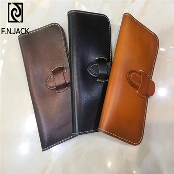 F.N.JACK Solid Fashion Genuine Leather Wallets Mens Long Coin Wallet Card Purses Money Bag Black Casual Slim Purse 2019