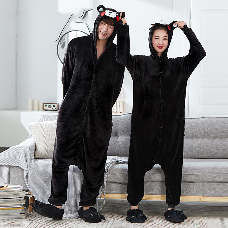 Kigurumi Unicorn Pajamas Adult Stitch Bear Animal Onesie 2019 Winter Sleepwear Men Women Couple Flannel Nightwear Home Clothes