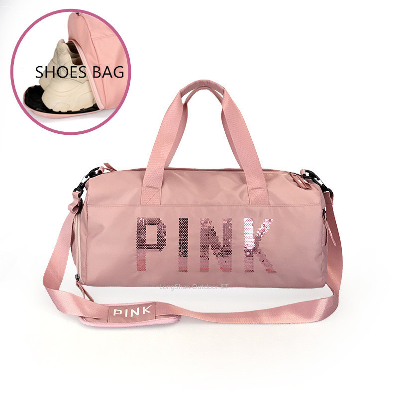 Newest Design Sequins PINK Letters Gym Fitness Sports Bag Shoulder Crossbody Bag Women Tote Handbag Travel Duffel Bolsa