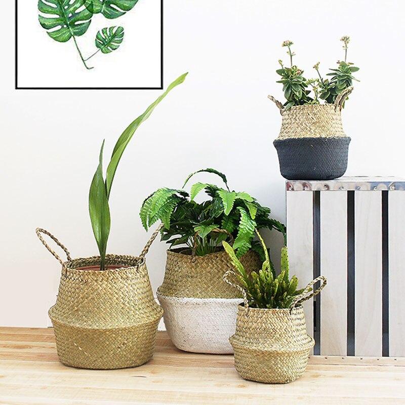 Seagrass Wickerwork Basket Rattan Hanging Flower Pot Dirty Laundry Hamper Garden Storage Basket Accessories Storage Baskets