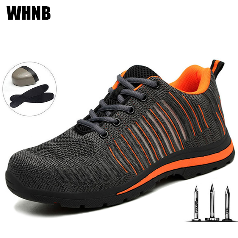 Men Work Shoes Breathable Deodorant Mesh Safety Shoes Steel Head Steel Bottom Anti-smashing Anti-slip Anti-slip Protective Shoes
