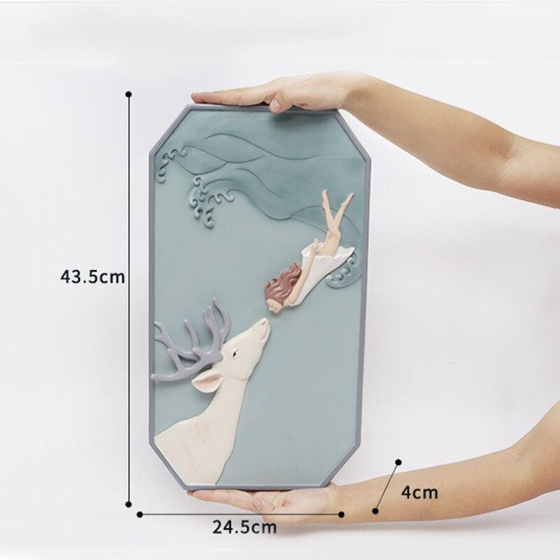 Roogo скандинавские сны Девушка настенное украшение для дома аксессуары 3D настенное искусство полимерная для домашнего декора для декора гостиной - 6