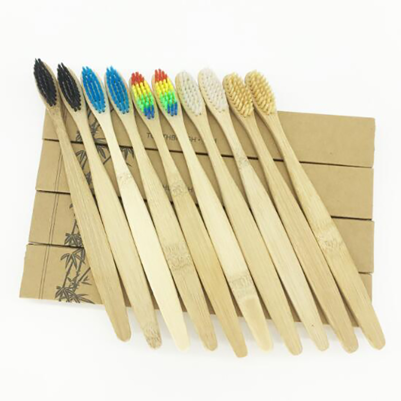 25/50Pcs Colorful Bamboo Toothbrush Bamboo Charcoal Table Soft Hair Eco Friendly Brushes Oral Cleaning Care Tools