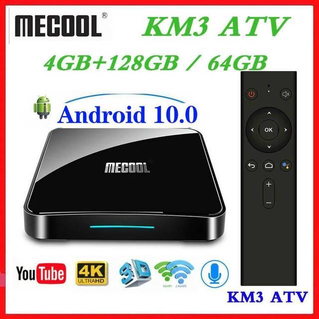 Max 4GB RAM 128GB ROM Mecool Android TV 10.0 KM3 TV kutusu Android 9.0 Google sertifikalı S905X2 4K akıllı medya oynatıcı KM9 PRO ATV