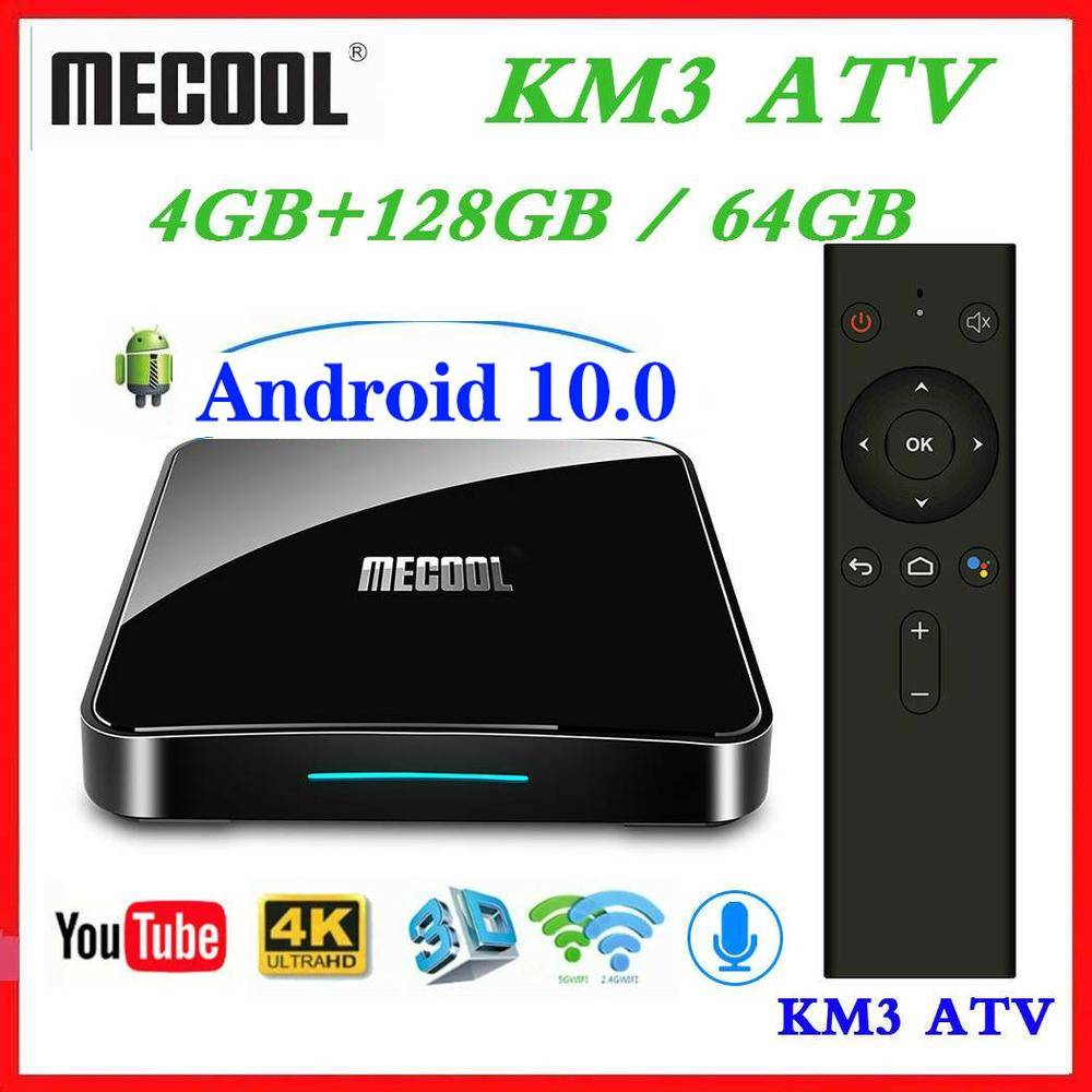 Max 4GB RAM 128GB ROM Mecool Android tv 10 0 KM3 TV BOX Androidtv 9 0 Google Certified S905X2 4K Smart Media Player KM9 PRO ATV