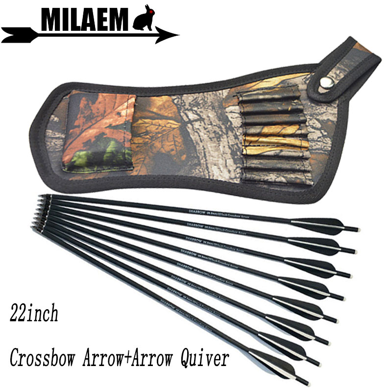 6/12pcs 22inch Archery Crossbow Bolts Carbon Arrow With Quiver Bag 4inch Vanes OD8.8mm Shooting Accessories