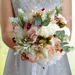 Hot Wedding Bouquet Bridesmaid Holding Flowers Wedding Supplies Artificial Silk Rose Peony Pink Flower Table Decoration