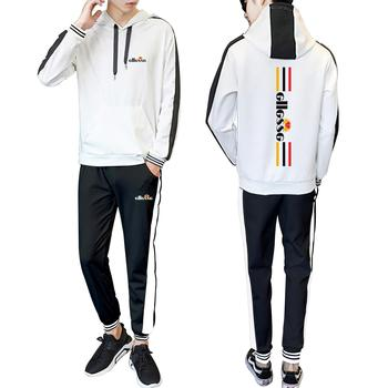Fashion logo 2020 men and women new spring and autumn hooded stitching fashion casual suit urban fashion casual trend suit