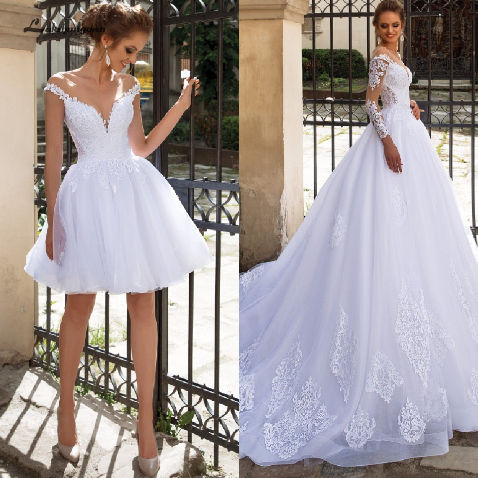 Lakshmigown Luxury A Line Wedding Dress 2 In 1 With Sleeves Lace Bridal Gown Vestido De Noiva Sexy Princess Tulle Wedding Gowns