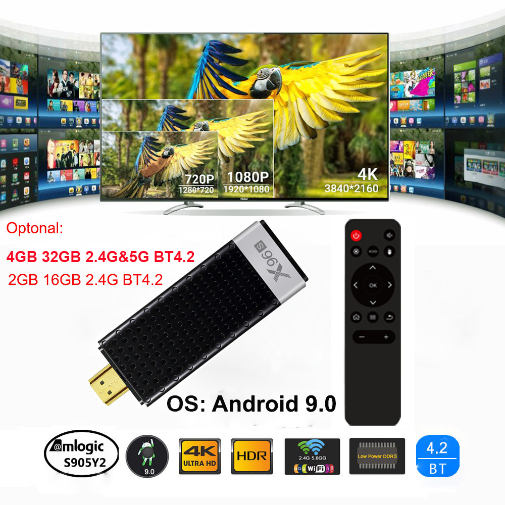 TV Vara Android 9.0 TV Dongle X96S 4GB S905Y2 32GB Amlogic Quad Core 2.4G 5GHz Wi-fi BT4.2 1080P 60pfs H.265 HD 4K Receptor de TV