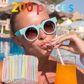 Nowy 200 sztuk słomki plastikowe 8 cali długości i wielu kolorowy w paski Bedable przyrząd kuchenny zestawy tanie tanie i dobre opinie CN (pochodzenie) Z tworzywa sztucznego