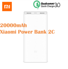 цена на Original Xiaomi Mi PowerBank 20000mAh 2C Portable Charger QC3.0 Dual USB Mi External Battery Bank For Mobile Phones XIAOMI 20000