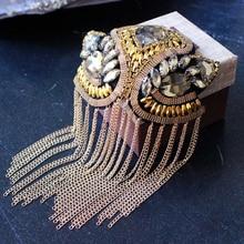 Handmade Rhinestone Fashion Tassel Chain Shoulder Board Badges Beads Patch Metal Epaulet Epaulette Military Pin on Brooch Medal