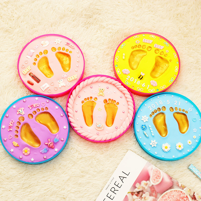 Baby footprint baby gift Baby Care Air Drying Soft Clay DIY Babies hand foot Imprint Kit Casting Toys print pad Newborn souvenir