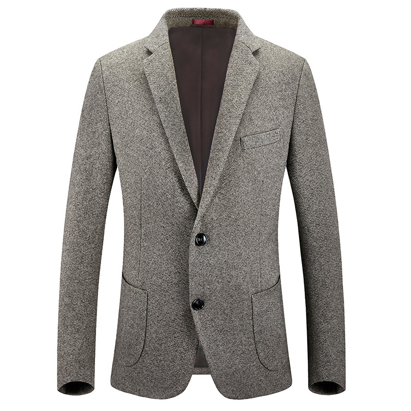 HOO 2020 Men's Business Casual Thick Wool Woolen Cloth Cloth Single Suit Suits Young High-quality Cultivate One's Morality