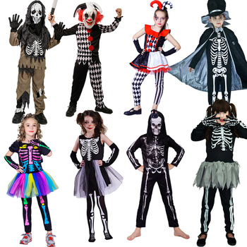 DSPLAY Boy&Girl Skeleton Skull Costume Role Play Kids Christmas Children Day Terror Clown Clothes Cosplay Halloween