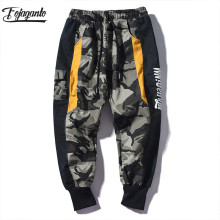 FOJAGANTO Brand Men Sport Casual Pants Men 100 % Cotton Fashion Hip Hop Trousers Men's Camouflage Cargo Pants
