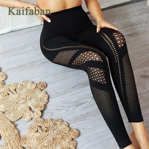 Femininas sem Costura de Malha Cores para Yoga Sexy para Corrida Calças Push Fitness Cintura Alta Academia Tubarão Roupas Esportivas 6 Oco up