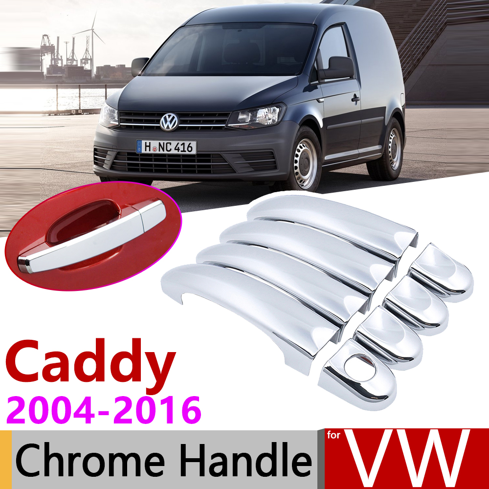 For Volkswagen VW Caddy 2K 2004~2016 Chrome Door Handle Cover Car Accessories Stickers Trim Set 2005 2007 2009 2011 2013 2015