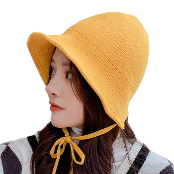 Sparsil Women Winter Bucket Hat Female Foldable Knitted Warm Solid Color Beanies Woolen Leisure Fashion Lace Tether Basin Hat stylish mixed color knitted bucket hat for women