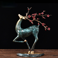 Pure Copper Sika Deer Ornaments Feng Shui Porch Ornaments Office Decorations Crafts Gifts Light Luxury