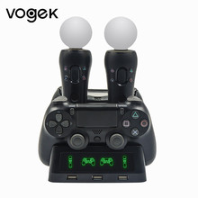 Portable 4 in 1 PS4 Controller Charger Dock Station for Playstation 4 PS4 PSVR VR Move Charging Stand for PS MOVE Controllers