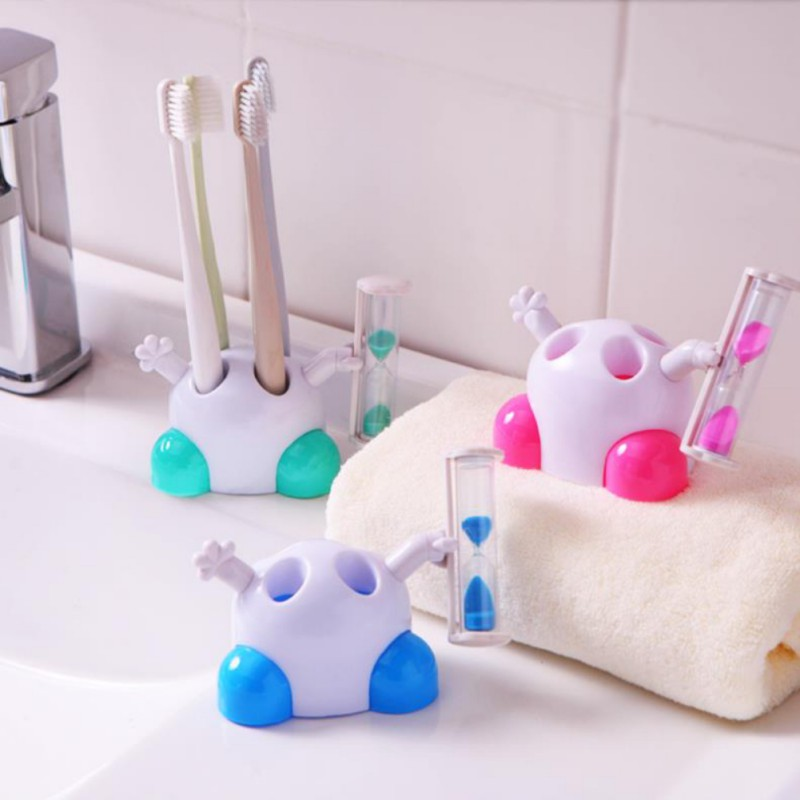 Children Cartoon Hourglass Toothbrush Holder Bathroom Toothbrush Seat Brushing  3 Minutes Timer