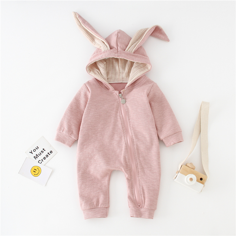 Baby Boy Girl Rompers Newborns Cotton Clothes Kid Spring Autumn Climbing Jumpsuit Cute Hooded Toddler Outerwear Clothing 0 18M in Rompers from Mother Kids