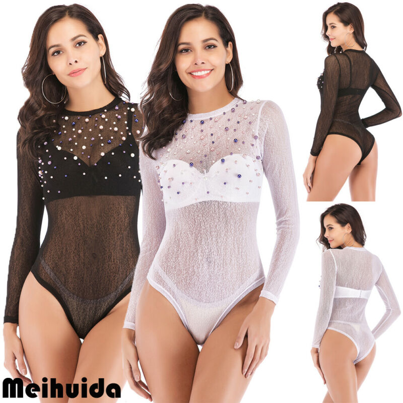 Women Beading Sexy lingerie Bodycon Shirt Bandage Bodysuit Jumpsuit Romper Vest Long Sleeve Body Top Blouse 2020 New