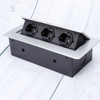 Damped Multimedia Outlet Socket Connection Box Desktop Pop Up Socket For Conference Room Three Plug