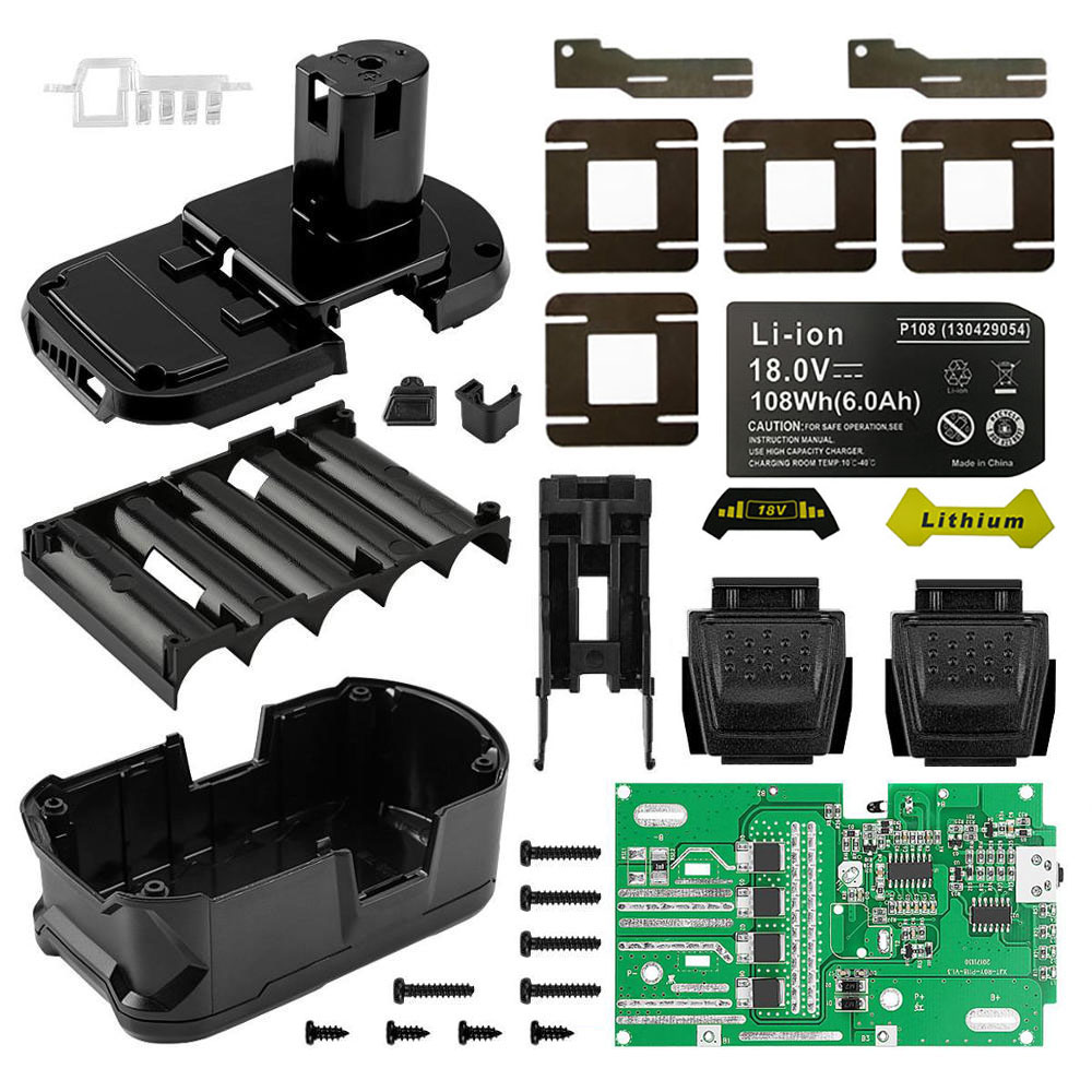P108 10 18650 Li ion Battery Plastic Case Charging Protection Circuit Board PCB Box For RYOBI