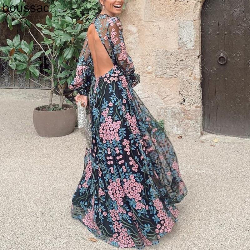 Long Sleeve Backless Long Dress Floral Print