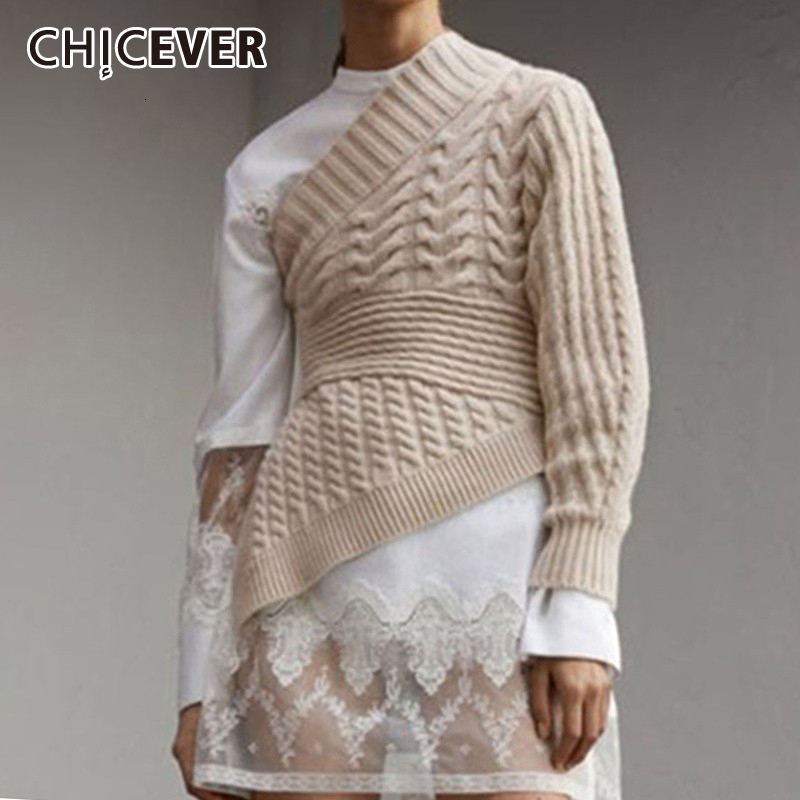 CHICEVER Asymmetrical Knitted Women's Sweater Irregular Collar One Shoulder Long Sleeve Pullover Sweaters Female 2019 Autumn New