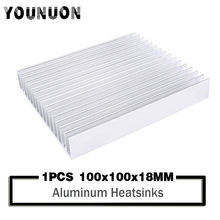 цена на YOUNUON Silver Tone Aluminium Heat Diffuse Heat Sink Cooling Fin 100x100x18mm Heatsink Cooler Chip CPU GPU VGA RAM LED IC Radiat