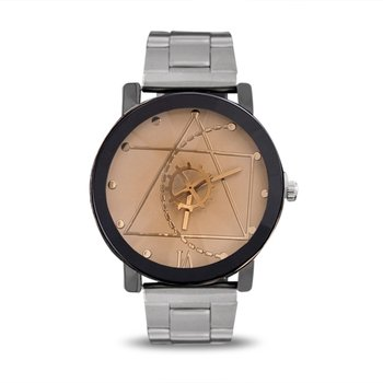 New Fashionable Gear Pointer Watch Vintage British Style Wrist Watch Compass Dial Wristwatch Men Women Lovers Quartz Watch new and innovative blue gold magnetic metal parallel time and space watch men s fashionable quartz watch simple men s watch