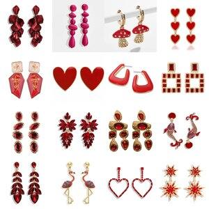 Miwens новые очаровательные блестящие красные Кристальные длинные висячие серьги, женские элегантные массивные серьги с подвеской, богемные ...